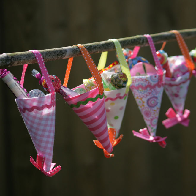 candy party cones hanging up