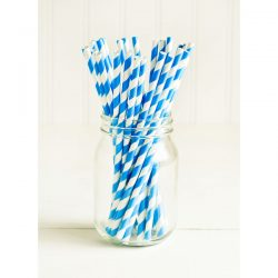 paper straws blue stripe