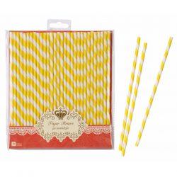 paper straws yellow stripe