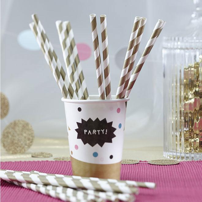 paper straws gold stripe