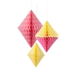 yellow pink diamond party decorations