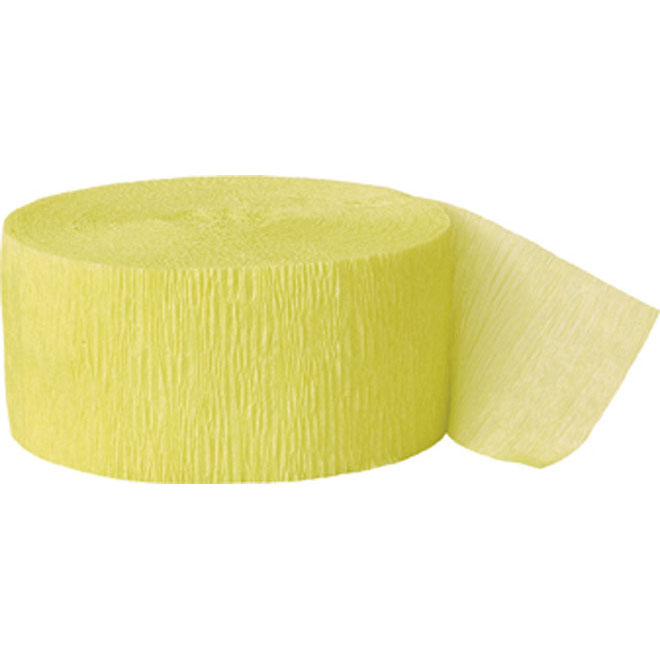 Canary yellow crepe paper streamer