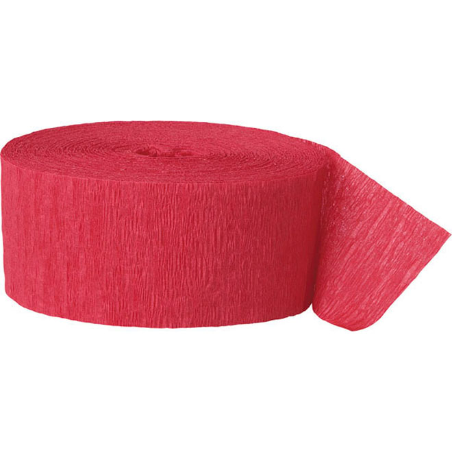 Red crepe paper party streamer
