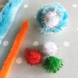pipe cleaners and pom-poms