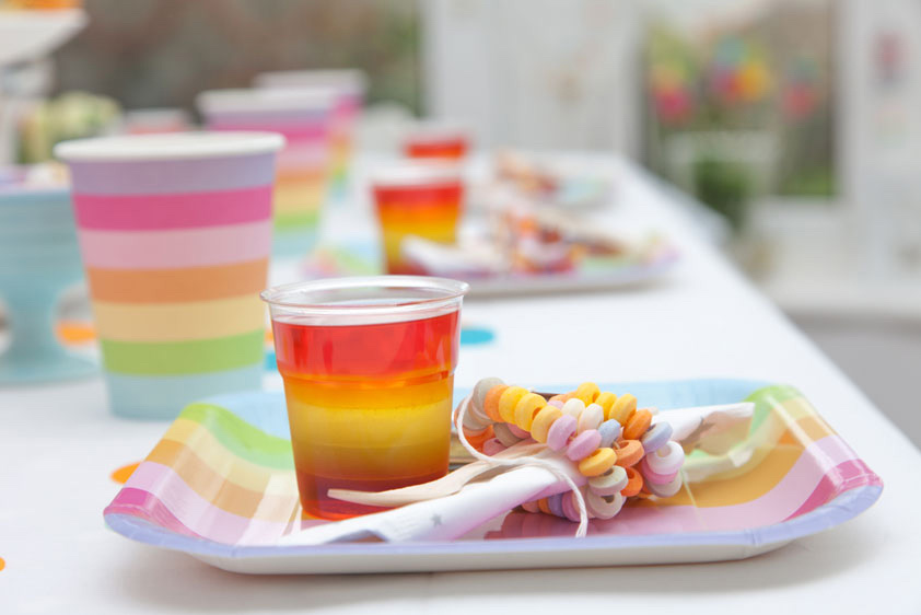 Rainbow party jelly and paper plate
