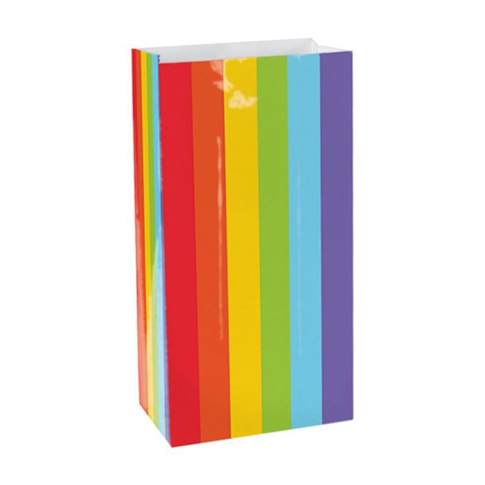 Rainbow striped paper party bag