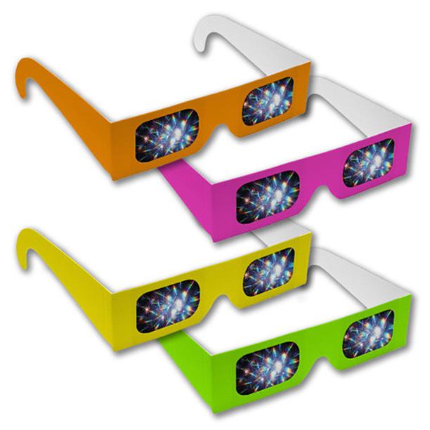 Neon coloured rainbow disco glasses