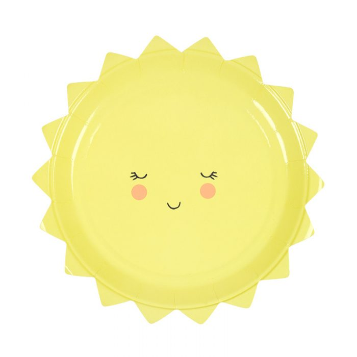 Cute sun face paper plates