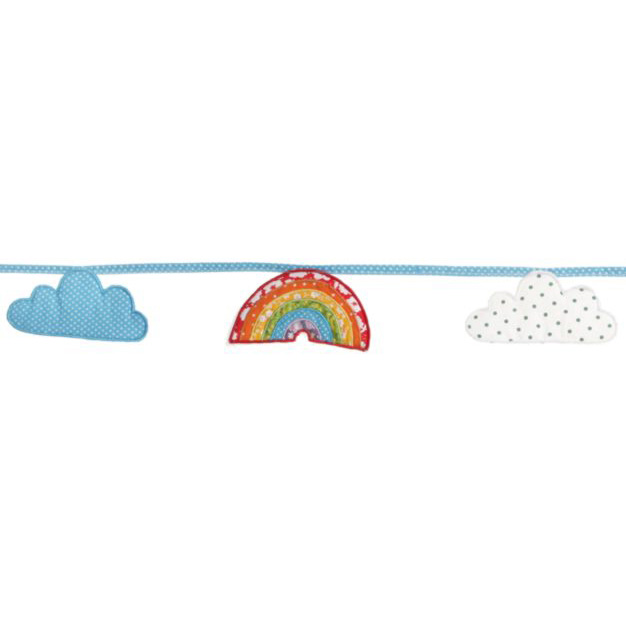 Fabric rainbow garland with clouds
