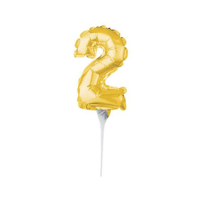 Number 2 mini gold balloon cake topper