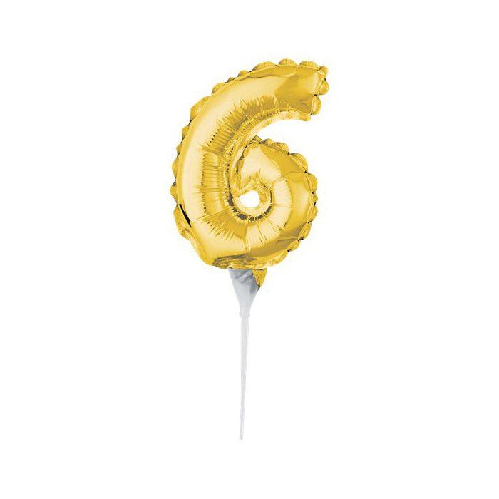 Number 6 mini gold balloon cake topper