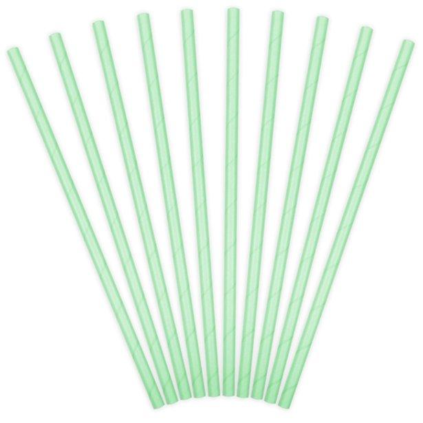 Mint green paper straws