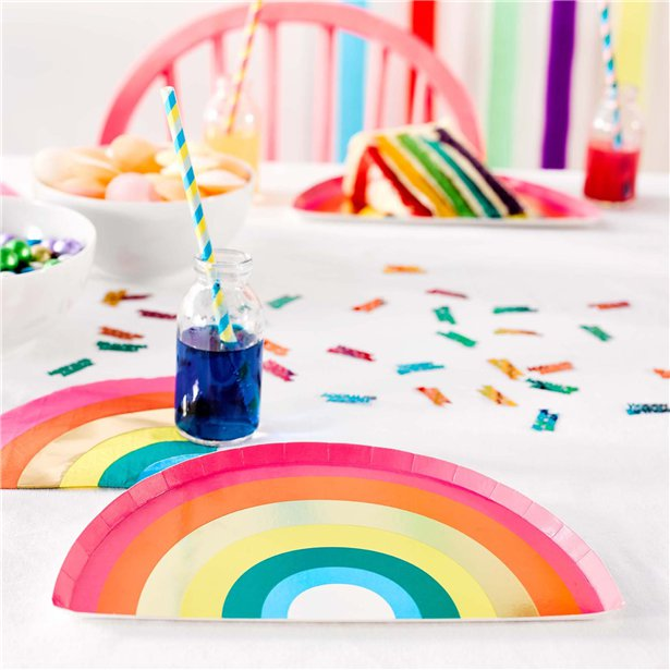 Rainbow paper plate party table