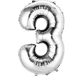 silver 3 balloon