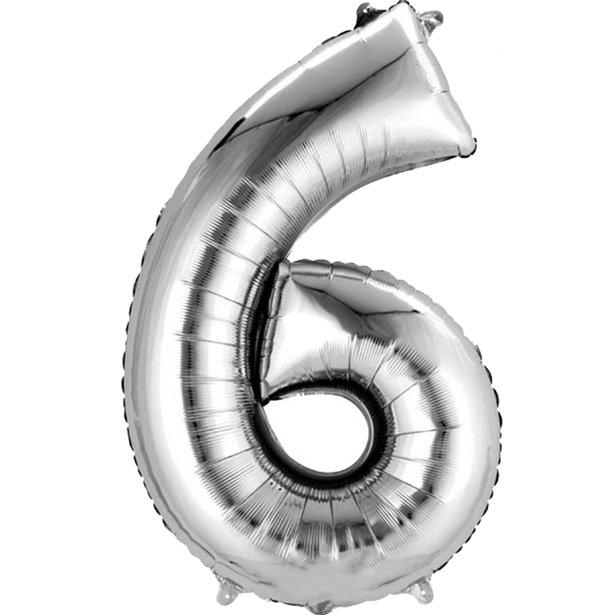 silver 6 balloon