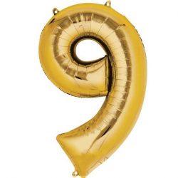 gold 9 balloon