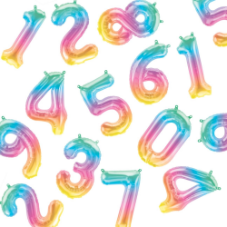 pastel ombre number balloons