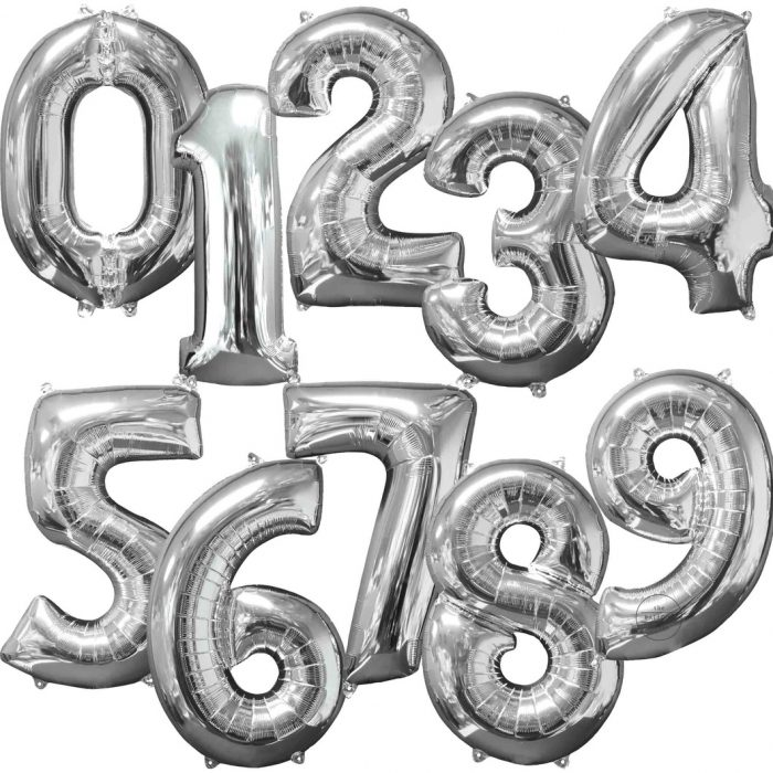 silver number balloons