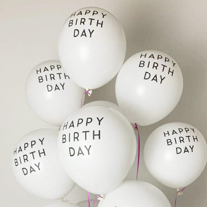 White Happy Birthday Balloons