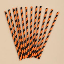 Orange and black paper straws