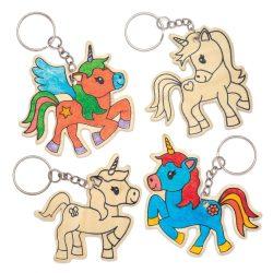 Wooden Unicorn Keyrings